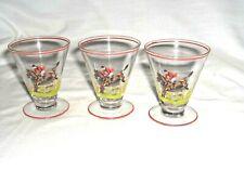 #630-SET OF 3 ELEGANT VINTAGE MINI GLASSES - HUNTER-JUMPER HORSES - STEEPLECHASE