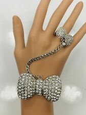 Crystal Kitty Bow Slave Bracelet Ring - Silver Tone