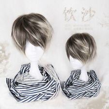 Japanese Harajuku Vintage Gothic Lolita Men's Brown Gradient Cool Cosplay Wig #