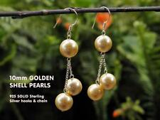 10mm Gold Shell Pearl Drop Earring Set - 925 Sterling Silver