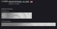 Destiny 2 - EXCLUSIVE GRAVITATIONAL ALLURE EMBLEM ! *FAST DELIVERY*