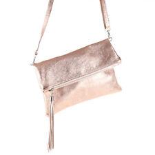 47fdea9c722d6 Metallic Cross Bag Umschlag Clutch Tasche Leder Glitzer Rosegold Quasten  Lack