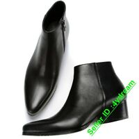 Mens 8965 Leather Pointed Toe Ankle Boots Chelsea Cuban Heel Casual Zipper Shoes