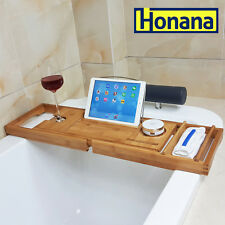 Honana Extendable Adjustable Bamboo Bath Bathtub Caddy Holder Tray Rack Table