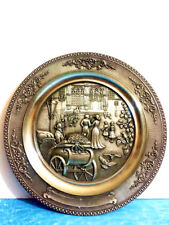 Vintage WMF Antique Pewter  Wall Decor Plate Raised Relief Design