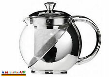 MODERN STAINLESS STEEL GLASS TEAPOT TEA POT WITH LOOSE TEA LEAF INFUSER 750ml