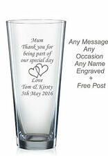 Personalised engraved glass vase Mother of the bride, mother of the groom gifts