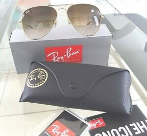 Ray-Ban Aviator RB3025/001/51/58mm Gold Frame Light Brown Gradient Crystal Lens
