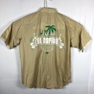 Vintage Def Jam Records El Caribe Mens Short Sleeve Button Shirt Embroidered L