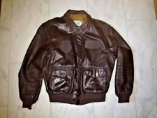Brown LEATHER Flight JACKET Military Issue BOMBER style Size 44 R Goatskin USA