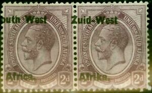 S.W.A 1923 2d Dull Purple SG3var Overprint Shift to Left Fine Mtd Mint