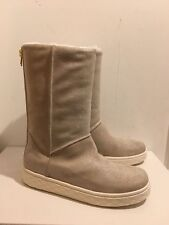 Moncler Natural/Beige Christine Fur & Leather Boots - UK 7/EU 40