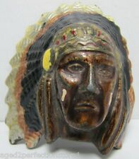 Vintage Indian Chief Belt Buckle detailed feather headdress ornate detailing