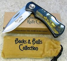 NAHC Limited Ed Knife Elk Herd Artwork Folding Blade Lockback Bucks and Bulls