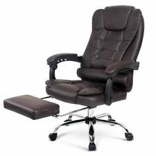 Executive Office Computer Chair Recliner Work Seat PU Leather Footrest Brown