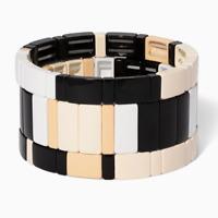Enamel Colour Elasticity Bracelets Colorful Bangles Stacking Alloy Tile Bracelet