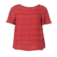 iBLUES MAX MARA Top Red Mesh Panel Short Sleeved BG