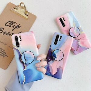Watercolor Marble Soft Case Cover For Huawei P30 Pro P20 Lite Socket Holder