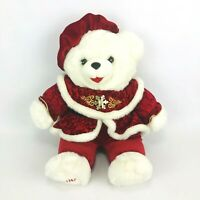 Dan Dee 2000 Christmas White Red Snow Flake Teddy Bear Plush Soft Stuffed Toy