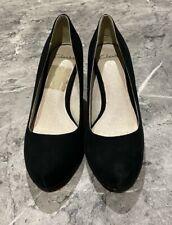 CLARKS Black Suede Mid heel Court Shoes, Size 4