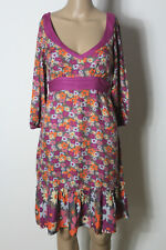 MANGO Kleid Gr. S/M lila-rosa-orange 3/4-Arm knielang Empire Blumen Kleid