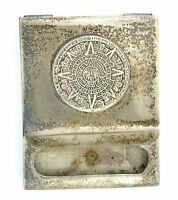 2 x 1 3/5 Inch Vintage Antique Mexican Sundial Match Book Cover Sterling Silver