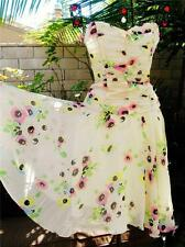 Betsey Johnson VINTAGE Dress Skirt & Top FLORAL CHIFFON Cream RUCHED CORSET 4 6