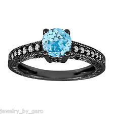 1.00 CARAT AQUAMARINE & DIAMONDS ENGAGEMENT RING VINTAGE STYLE 14K BLACK GOLD