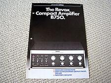 Studer Revox B-750 integrated amplifier brochure