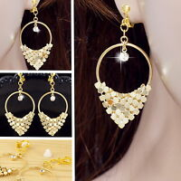 #E121H Non-pierced CLIP ON EARRINGS Party Hoop Crystal Dangle Women Gold Plated