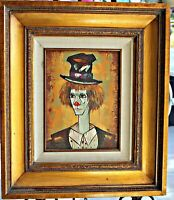Original Oil, 'Chester' Framed Clown by Clement, Collier Art Corp.