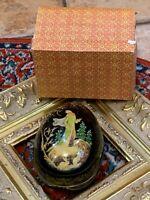 VINTAGE WOODEN LACQUER HANDPAINTED TRINKET BOX EGG RABBIT BIRD PRINCESS GIRL EUC