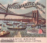 Brooklyn Bridge 1800's Willimantic Sewing Thread Fantasy Victorian Trade Card