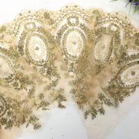 1 Yard Gold Sequins Flowers Lace Trim Wedding Dress Applique Edging