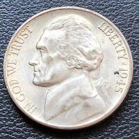 USA 1945 S Jefferson War Nickel 5 Cent Selten Silber UNC #26994