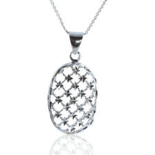 925 STERLING SILVER OVAL SHAPE LITTLE STARS PENDANT WITH CURB CHAIN NECKLACE