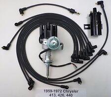 CHRYSLER 440 59-72 BLACK Small Female HEI Distributor+Black Coil+Spark Plug Wire