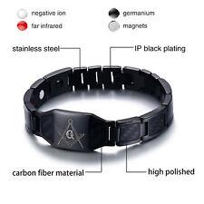 Mason Masonic Freemason Bracelet Black Stainless Steel Carbon Fiber