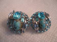 """Hollycraft 3/4"""" blue rhinestone, turquoise cab clip earrings - signed"""