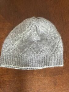 FORTE 100% Cashmere Beanie Hat Gray One size