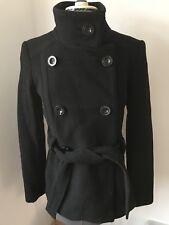 Zara Basic Ladies Black Wool Coat Military Double Breasted Sz S Belt