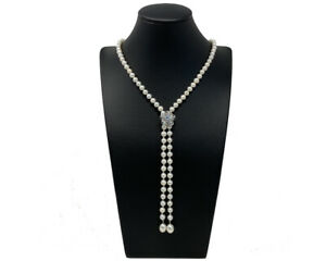 A Stunning Freshwater Pearl Lariat Necklace With Removable Diamante Silver Clasp