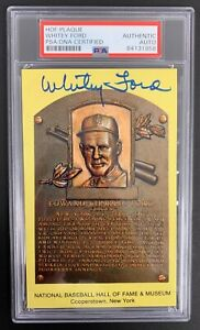 Whitey Ford Signed HOF Gold Plaque Postcard Yellow NY Yankees Autograph PSA/DNA