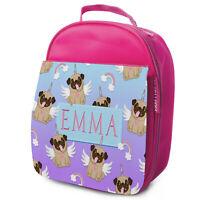 Pug Lunch Bag School Childrens Girls Insulated Pink Personalised Unicorn KS144