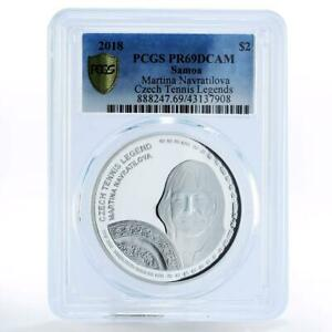 Samoa 2 dollarsTennis Legends Martina Navratilova PR69 PCGS silver coin 2018