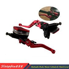 Red CNC Aluminum Motorcycle Clutch Brake Master Cylinder Reservoir Levers Set