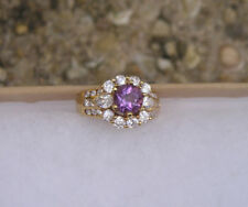 Cubic Zirconia Cz Ring Size 6 Gold Over Sterling 925 Purple & Clear