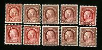 US Stamps # 512+12a F-VF Lot of 10 OG LH+H