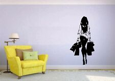 Wall Sticker Mural Decal Vinyl Decor Shopping Fashion Girl