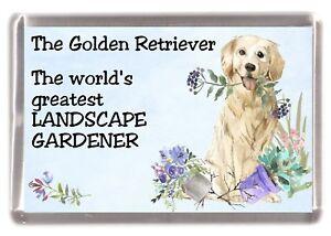 """Golden Retriever Dog Fridge Magnet """"Greatest Landscape Gardener"""" by Starprint"""